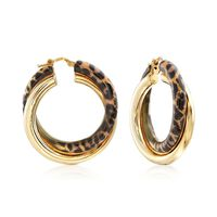 Italian Leopard Print Enamel and 18kt Gold Over Sterling Hoop Earrings. 1 1/..