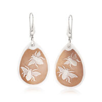 Italian Shell Insect Cameo Drop Earrings in Sterling Silver