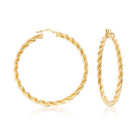 Italian 18kt Gold Over Sterling Large Twisted Hoop Earrings. 2""