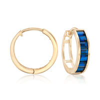 Baguette Simulated Sapphire Hoop Earrings in 14kt Yellow Gold. 1/2""