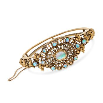 """C. 1980 Vintage Opal and Cultured Seed Pearl Openwork Bangle Bracelet in 14kt Yellow Gold. 7"""""""