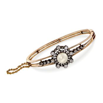 """C. 1900 Vintage 9mm Cultured Pearl and 1.95 ct. t.w. Diamond Bangle Bracelet in 14kt Two-Tone Gold. 7"""""""