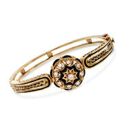 C. 1970 Vintage .55 ct. t.w. Diamond Bangle Bracelet With Black Enamel in 14kt Yellow Gold. 7""