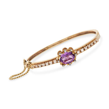 """C. 1960 Vintage 4.10 Carat Amethyst and 1.25 ct. t.w. Diamond Bangle Bracelet in 14kt Yellow Gold. 7.5"""""""
