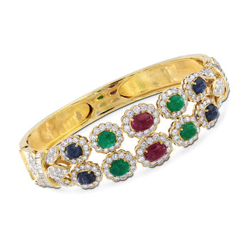 """C. 1980 Vintage 7.00 ct. t.w. Multi-Stone Bangle Bracelet in 14kt Yellow Gold With 5.10 ct. t.w. Diamonds. 7"""""""