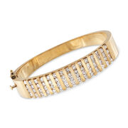 C. 1980 Vintage 4.20 ct. t.w. Diamond Bangle Bracelet in 14kt Yellow Gold. 7""
