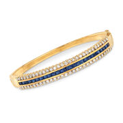C. 1980 Vintage 2.00 ct. t.w. Sapphire and 1.80 ct. t.w. Diamond Bangle Bracelet in 18kt Yellow Gold. 7""