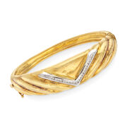 C. 1980 Vintage .40 ct. t.w. Diamond V-Shape Bangle Bracelet in 18kt Two-Tone Gold. 7""
