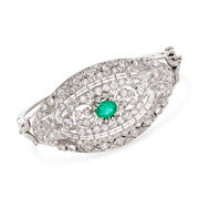 3.25 ct. t.w. Diamond and 1.05 Carat Emerald Filigree Bangle Bracelet in 18kt White Gold. 7""