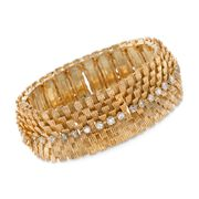 C. 1970 Vintage 2.80 ct. t.w. Diamond Wide Textured Bracelet in 18kt Yellow Gold. 6.75""