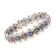 """C. 1980 Vintage 14.30 ct. t.w. Sapphire and 2.50 ct. t.w. Diamond Bracelet in 18kt Two-Tone Gold. 7.25"""""""