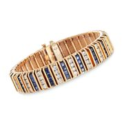 C. 1960 Vintage 7.60 ct. t.w. Sapphire and 4.50 ct. t.w. Diamond Bracelet in 14kt Yellow Gold. 6.5""