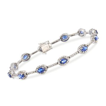 C. 1990 Vintage 3.00 ct. t.w. Sapphire and 1.15 ct. t.w. Diamond Station Bracelet in 18kt White Gold. 6.75""