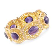 C. 1990 Vintage 58.80 ct. t.w. Amethyst Bracelet in 18kt Two-Tone Gold. 7.5""