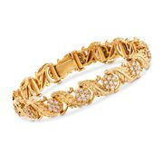C. 1990 Vintage 2.60 ct. t.w. Diamond Leaves Bracelet in 18kt Yellow Gold. 6.75""