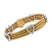 C. 1990 Vintage 1.80 ct. t.w. Diamond Heart Station Bracelet in 18kt Two-Tone Gold. 7""
