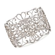 C. 2000 Vintage 3.00 ct. t.w. Diamond Openwork Floral Bangle Bracelet in 14kt White Gold. 7""