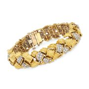 C. 1970 Vintage 4.00 ct. t.w. Diamond Basketweave Bracelet in 14kt Two-Tone Gold. 7""