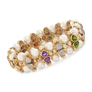 """C. 1980 Vintage 5.80 ct. t.w. Multi-Stone and 7.5mm Cultured Pearl Bracelet With Diamonds in 14kt Yellow Gold. 7.5"""""""