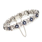 C. 1980 Vintage 3.15 ct. t.w. Sapphire and 1.10 ct. t.w. Diamond Floral Bracelet in 18kt White Gold. 7""