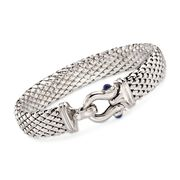 C. 2000 Vintage .60 ct. t.w. Sapphire Buckle Bracelet in 14kt White Gold. 7.5""