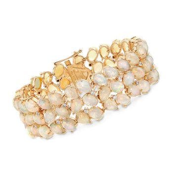 C. 1970 Vintage Opal and .25 ct. t.w. Diamond Bracelet in 18kt Yellow Gold. 7.5""