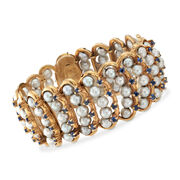 C. 1970 Vintage 5-5.5mm Cultured Pearl and 6.00 ct. t.w. Sapphire Bracelet in 14kt Yellow Gold. 7.25""