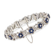 """C. 1990 Vintage 2.40 ct. t.w. Sapphire and 1.00 ct. t.w. Diamond Floral Bracelet in 18kt White Gold. 6.25"""""""