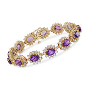 C. 1980 Vintage 17.55 ct. t.w. Amethyst and 9.75 ct. t.w. Diamond Bracelet in 14kt Yellow Gold. 7.25""