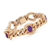 C. 1990 Vintage 4.50 ct. t.w. Amethyst Link Bracelet in 14kt Yellow Gold. 7.25""