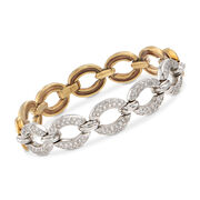 C. 1990 Vintage 1.50 ct. t.w. Diamond Oval-Link Bracelet in 18kt Two-Tone Gold. 6.75""