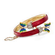"""C. 1960 Vintage .80 ct. t.w. Diamond Butterfly Bypass Bangle Bracelet in 14kt Gold With Multicolored Enamel. 6.5"""""""