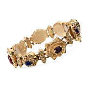 C. 1950 Vintage 6.70 ct. t.w. Multi-Stone Charm Bracelet in 14kt Yellow Gold. 8""
