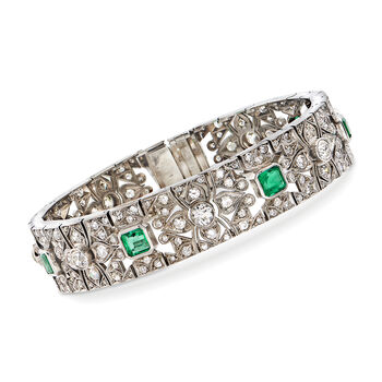 """C. 1950 Vintage 5.65 ct. t.w. Diamond and 2.40 ct. t.w. Emerald Bracelet in 14kt White Gold. 7.5"""""""