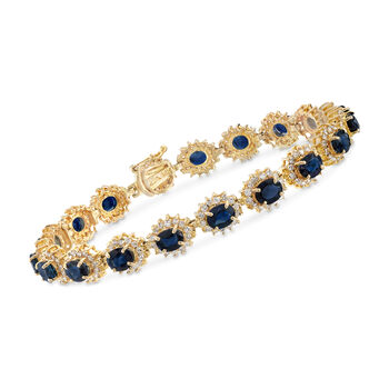"""C. 1990 Vintage 8.55 ct. t.w. Sapphire and 2.15 ct. t.w. Diamond Bracelet in 14kt Yellow Gold. 6.5"""""""