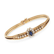 """C. 1980 Vintage .55 Carat Sapphire and .55 ct. t.w. Diamond Bracelet in 14kt Yellow Gold. 7.25"""""""