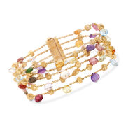 C. 2000 Vintage Marco Bicego 13.50 ct. t.w. Multi-Stone Multi-Strand Bracelet in 18kt Yellow Gold. 7.25""