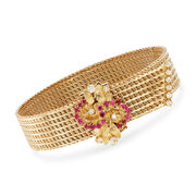 C. 1980 Vintage .50 ct. t.w. Ruby and .45 ct. t.w. Diamond Cluster Mesh Bracelet in 18kt Yellow Gold. 7.5""
