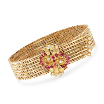 """C. 1980 Vintage .50 ct. t.w. Ruby and .45 ct. t.w. Diamond Cluster Mesh Bracelet in 18kt Yellow Gold. 7.5"""""""