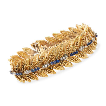 """C. 1970 Vintage 2 ct. t.w. Sapphire and .55 ct. t.w. Diamond Bracelet in 18 kt Yellow Gold. 7"""""""