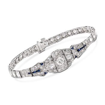 C. 2000 Vintage 3.65 ct. t.w. Diamond Bracelet With Synthetic Sapphire Accents in Platinum. 6.5""