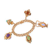 C. 1980 Vintage Multi-Stone Charm Bracelet in 14kt Yellow Gold. 7""