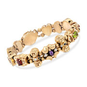 C. 1960 Vintage 3.35 ct. t.w. Multi-Stone Charm Bracelet in 14kt Yellow Gold. 7.5""