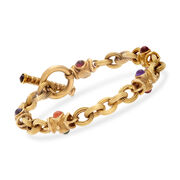 """C. 1990 Vintage 1.95 ct. t.w. Multicolored Multi-Stone Link Bracelet in 14kt Yellow Gold. 7.5"""""""