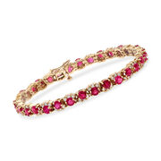 """C. 1990 Vintage 8.00 ct. t.w. Ruby and 1.75 ct. t.w. Diamond Tennis Bracelet in 14kt Yellow Gold. 7"""""""