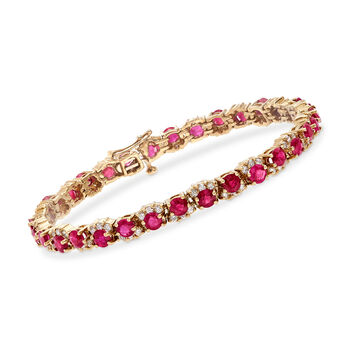 C. 1990 Vintage 8.00 ct. t.w. Ruby and 1.75 ct. t.w. Diamond Tennis Bracelet in 14kt Yellow Gold. 7""