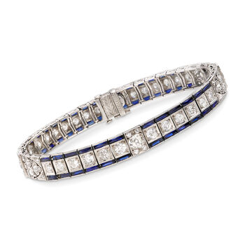 C. 1940 Vintage 5.40 ct. t.w. Synthetic Sapphire and 4.30 ct. t.w. Diamond Bracelet in Platinum. 7.25""