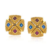 C. 1990 Vintage 1.80 ct. t.w. Ruby and 1.80 ct. t.w. Sapphire Clip-On Earrings in 18kt Yellow Gold