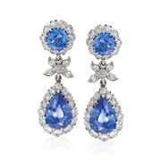 C. 2000 Vintage 5.60 ct. t.w. Sapphire and 1.40 ct. t.w. Diamond Drop Earrings in 18kt White Gold
