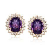 C. 1970 Vintage 9.00 ct. t.w. Amethyst and 2.15 ct. t.w. Diamond Clip-On Earrings in 14kt Yellow Gold